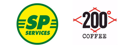 SP Services logo & 200 degrees coffee company logo